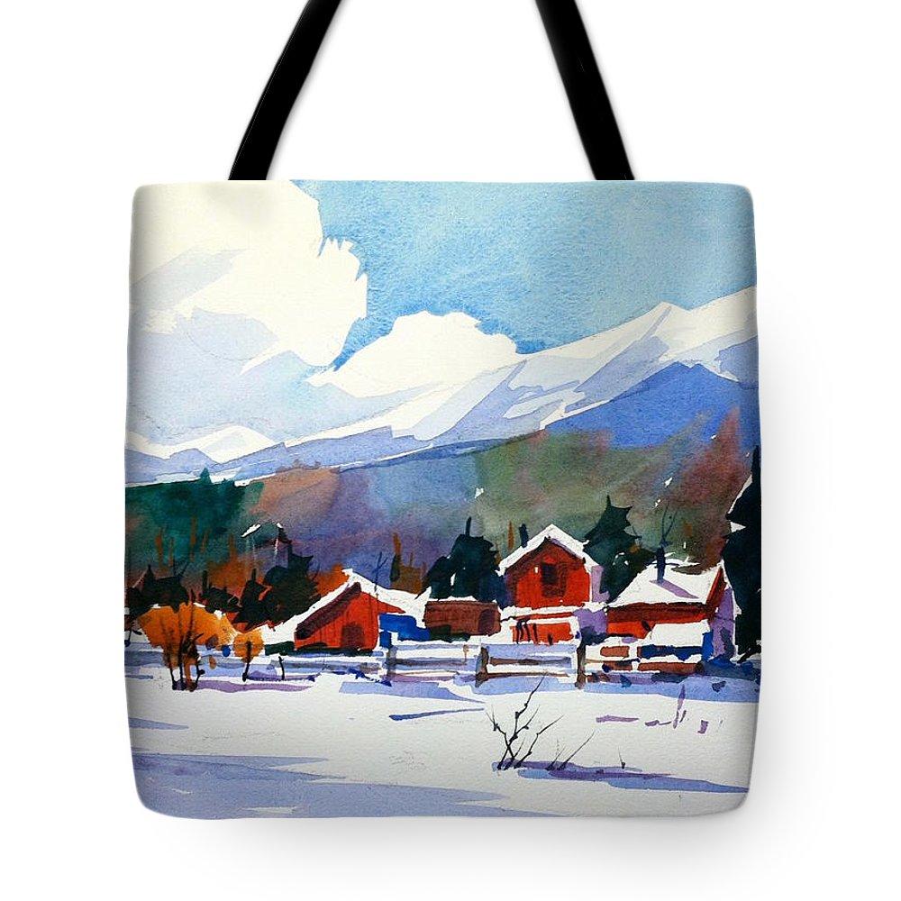 Colorado Winter Rocky Mountains Snow Tote Bag featuring the painting Colorado Winter 8 by Ugljesa Janjic