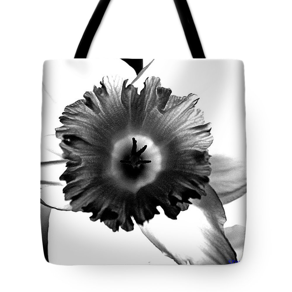 Bw black & White Modern Edge Daffodil Nature Bloom Flower Photograph Tote Bag featuring the photograph ColorBlind. by Stevie Ellis