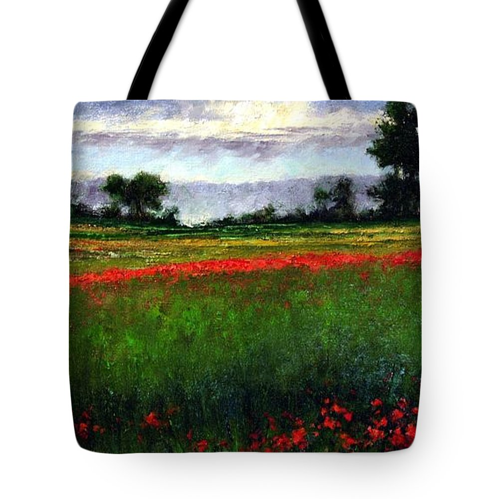 Landscape Tote Bag featuring the painting Colorburst by Jim Gola