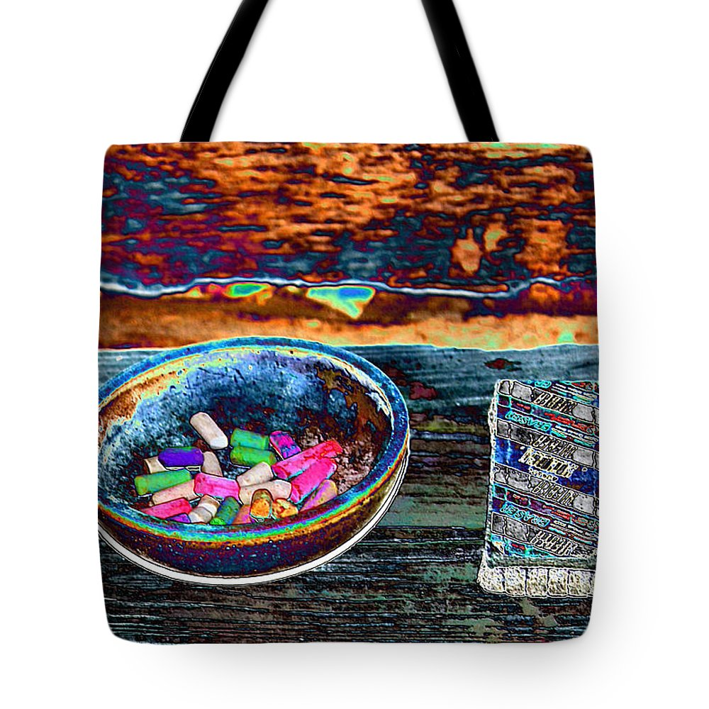 Eraser Tote Bag featuring the photograph Colored Chalk by Karen Wagner