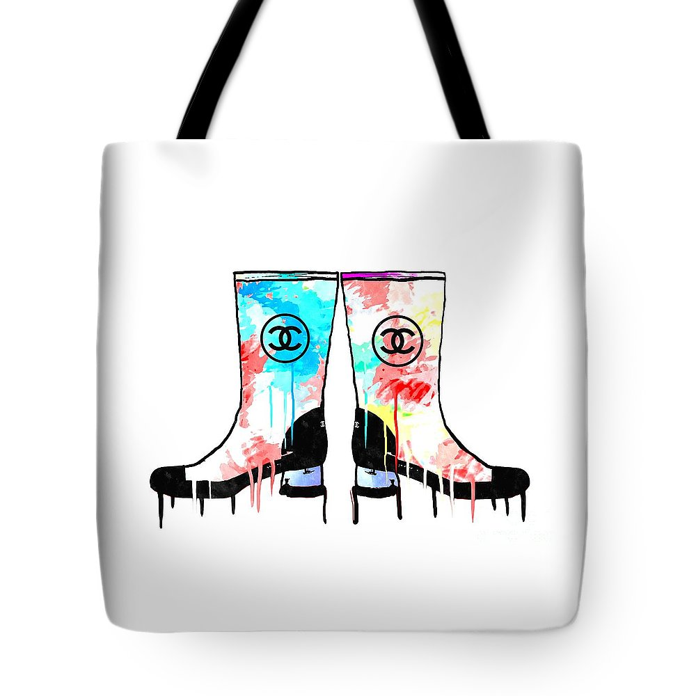 Colored Chanel Boots Tote Bag featuring the mixed media Colored Chanel Boots by Daniel Janda