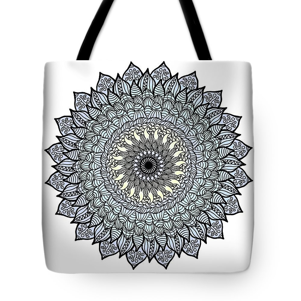 Flower Tote Bag featuring the mixed media Colored Flower Zentangle by Lisa Stanley