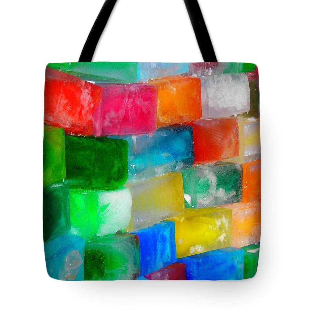 Wall Tote Bag featuring the photograph Colored Ice Bricks by Juergen Weiss