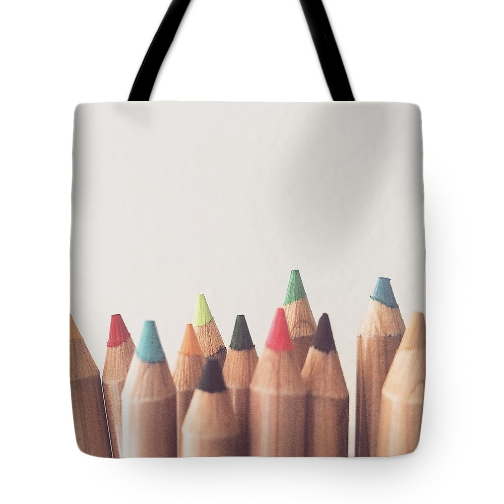 Colored Pencils Tote Bag featuring the photograph Colored Pencils by Cortney Herron