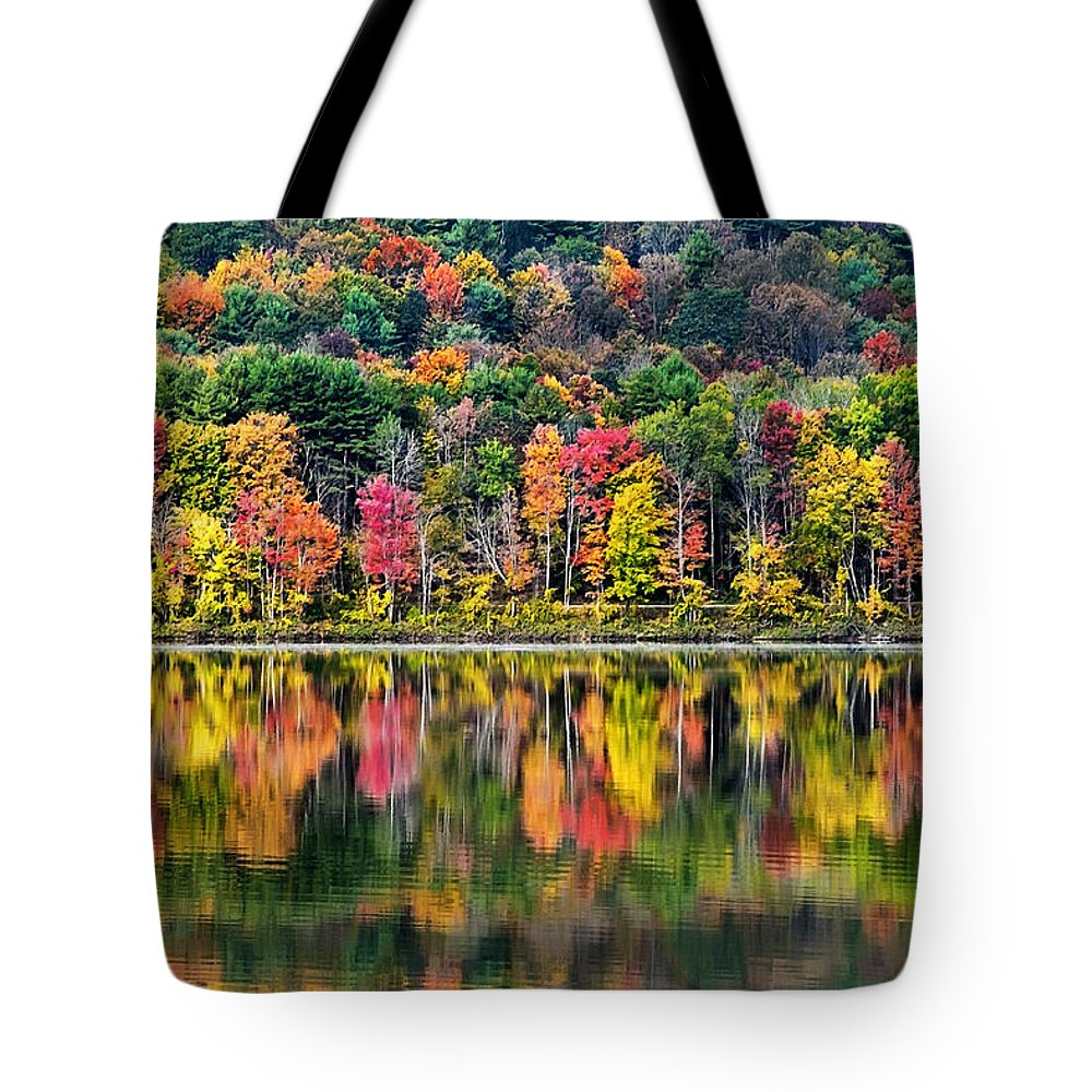 New York Tote Bag featuring the photograph Colorful Autumn Reflections by Christina Rollo
