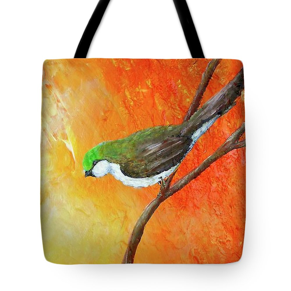 Tote Bag featuring the painting Colorful Bird Art by Nancy Q Studio
