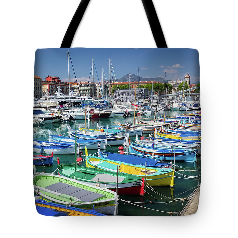 Castle Hill Tote Bag featuring the photograph Colorful Boats Docked In Nice Marina, France by Liesl Walsh