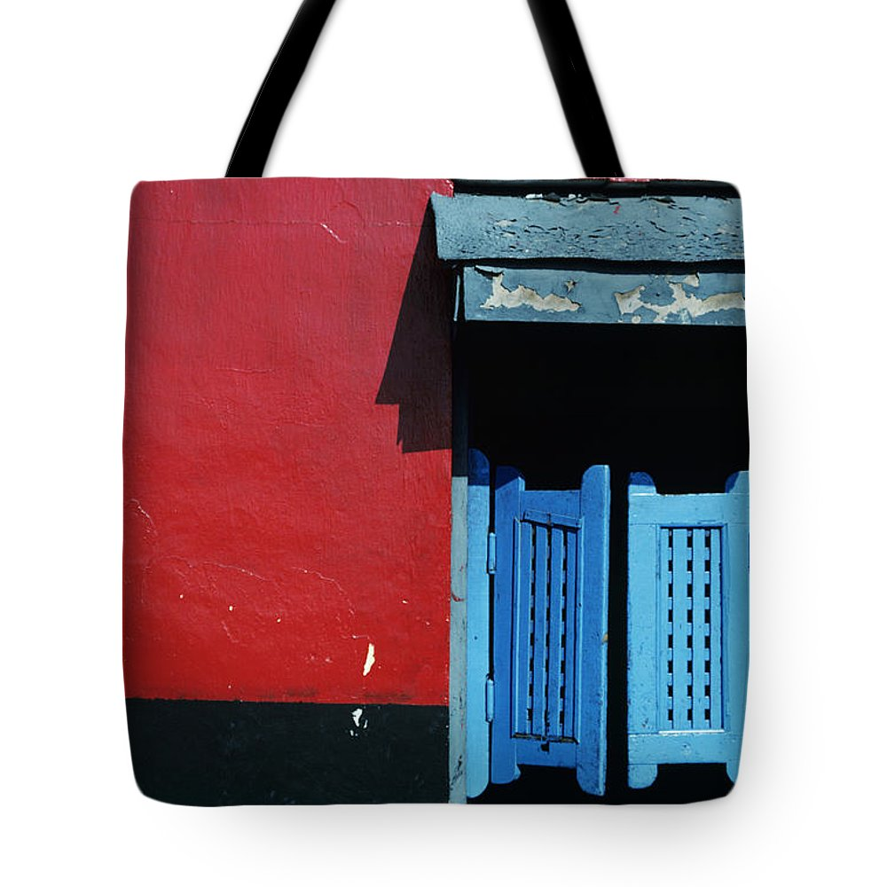 Architecture Tote Bag featuring the photograph Colorful Caribbean Door by Larry Dale Gordon - Printscapes