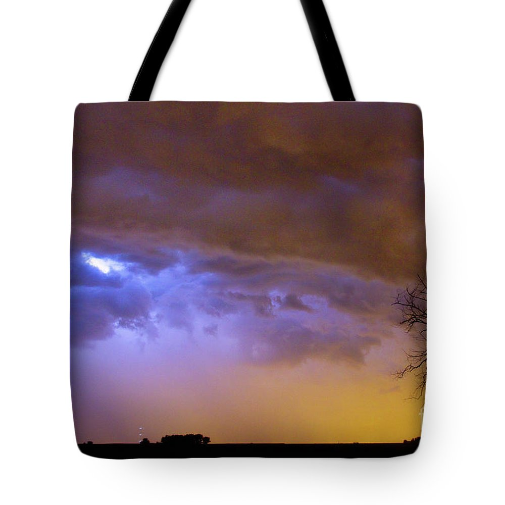 Weld County Tote Bag featuring the photograph Colorful Cloud To Cloud Lightning Stormy Sky by James BO Insogna