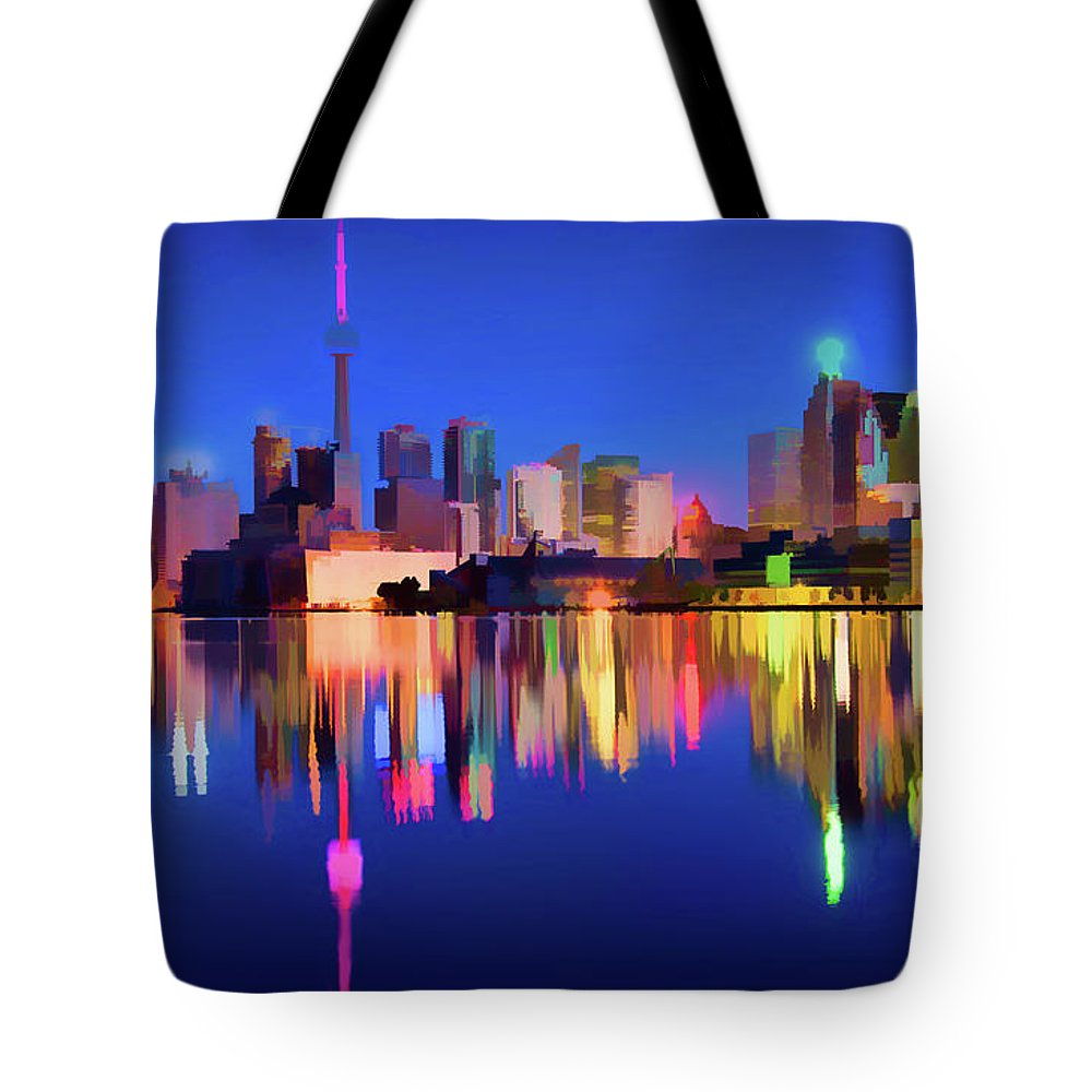 Canada Tote Bag featuring the digital art Colorful Cn Tower by Roy Pedersen