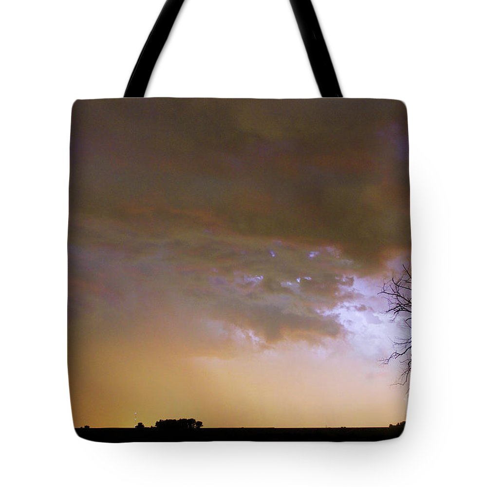 Tree Tote Bag featuring the photograph Colorful Colorado Cloud To Cloud Lightning Striking by James BO Insogna