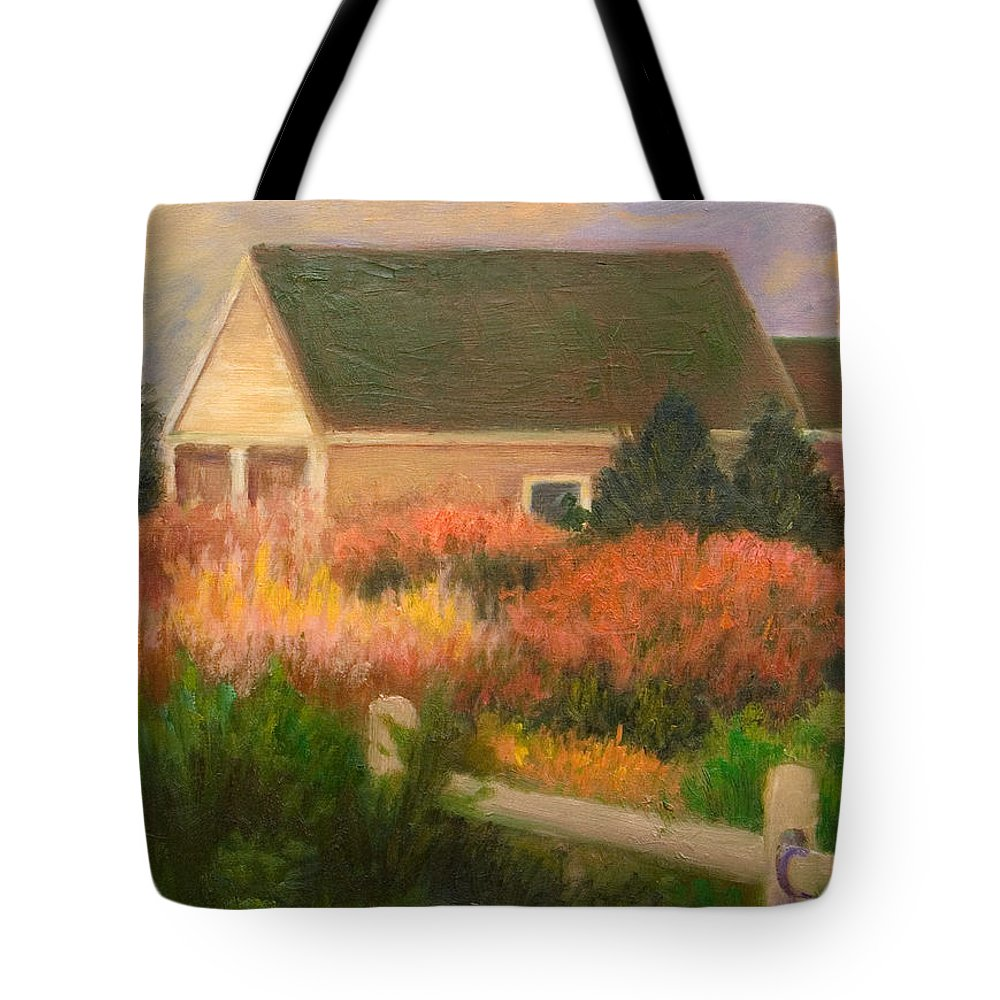 Cape Cod Tote Bag featuring the painting Colorful Cottage Cape Cod by Phyllis Tarlow