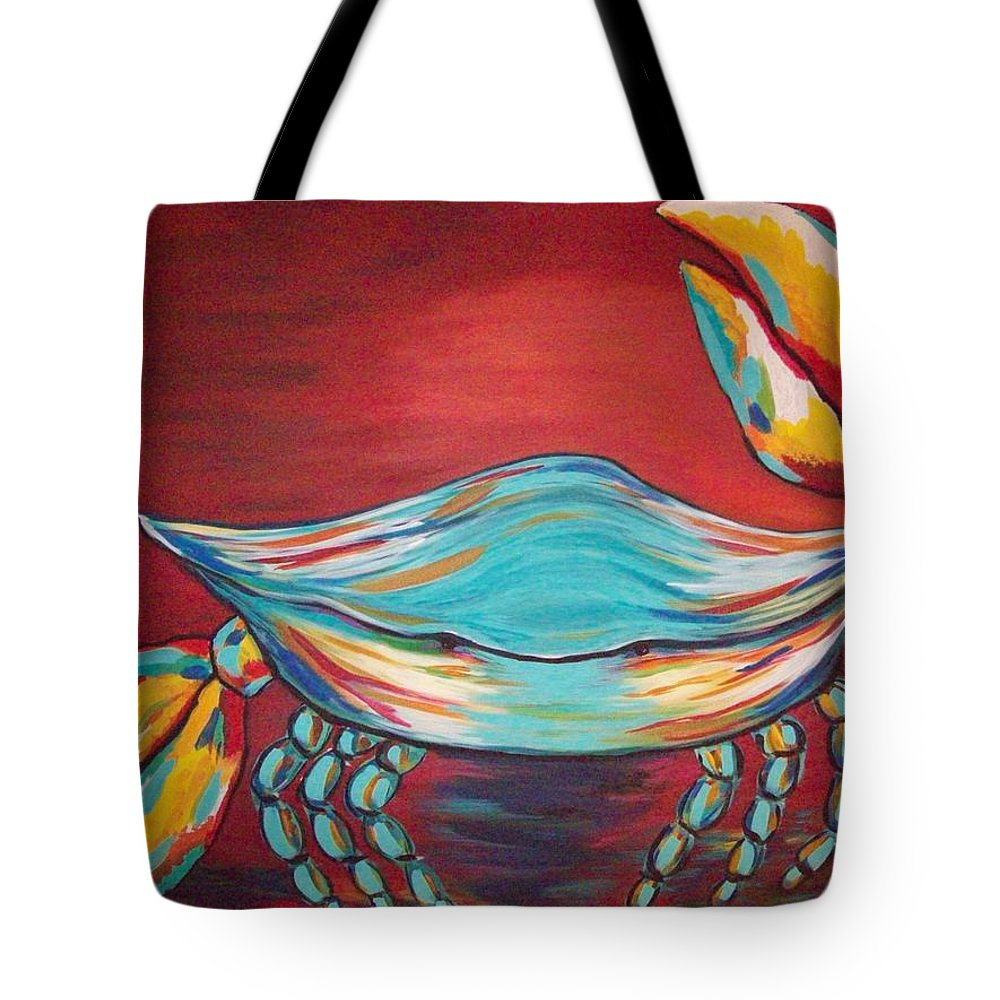 Sealife Tote Bag featuring the painting Colorful Crab by Angela Miles Varnado