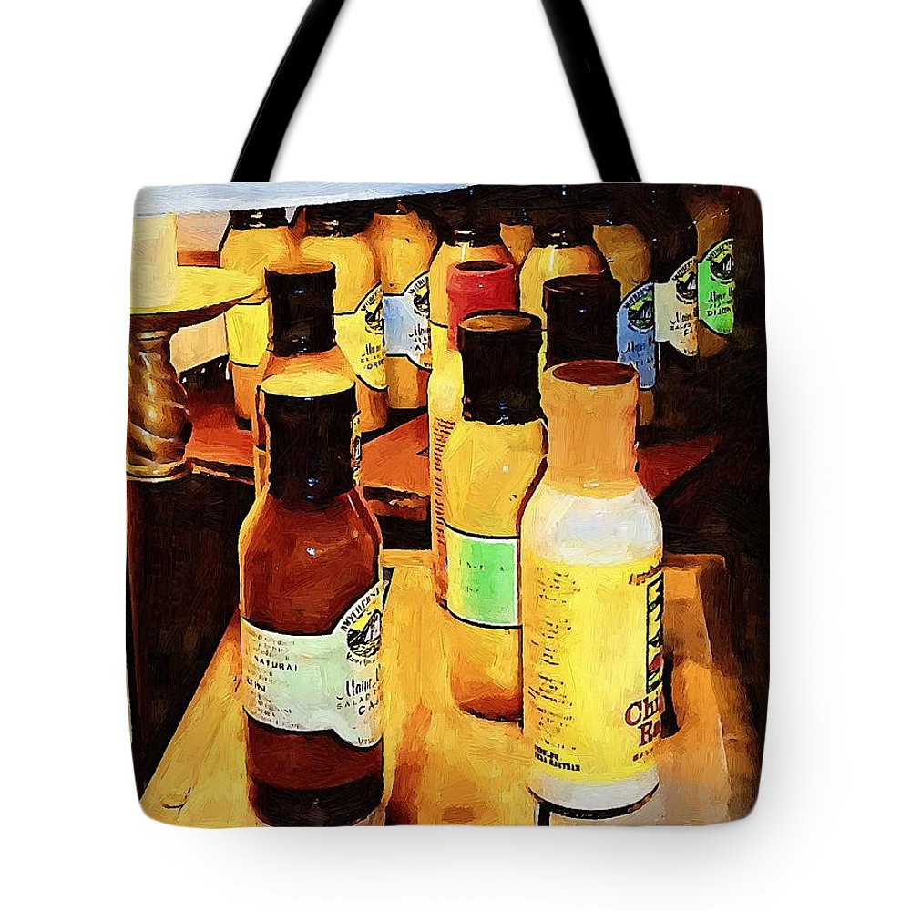 Bottles Tote Bag featuring the painting Colorful Culinary Collection by RC DeWinter