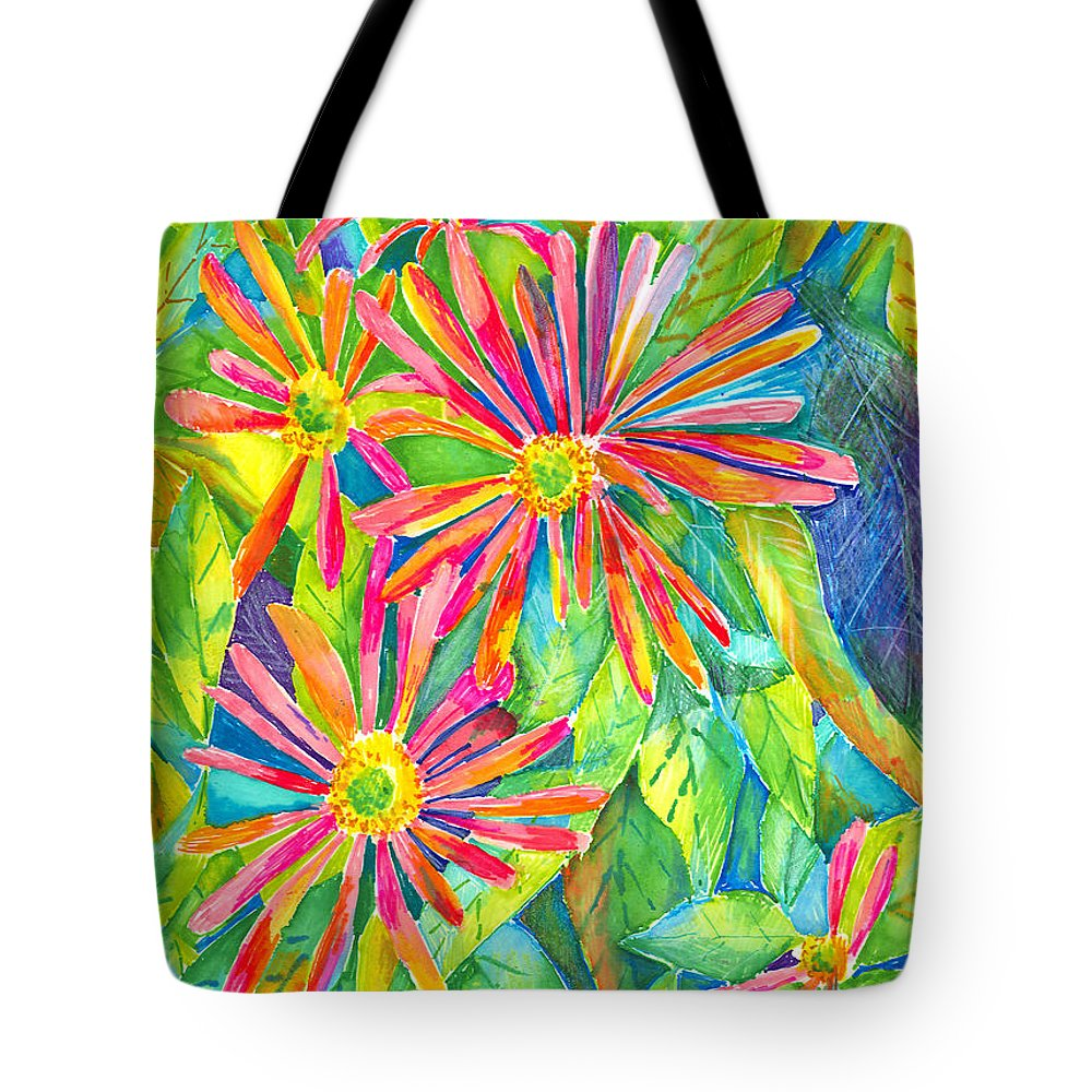 Daisy Tote Bag featuring the painting Colorful Daisies by Arline Wagner