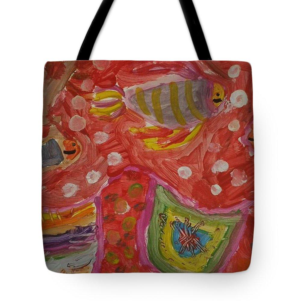 Fish Tote Bag featuring the painting Colorful Deep Sea by Ksenia Tokareva