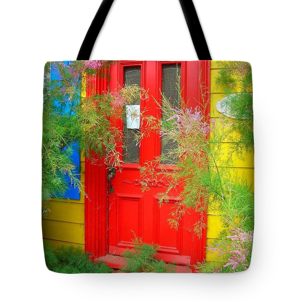 Color Tote Bag featuring the photograph Colorful Entrance ... by Juergen Weiss