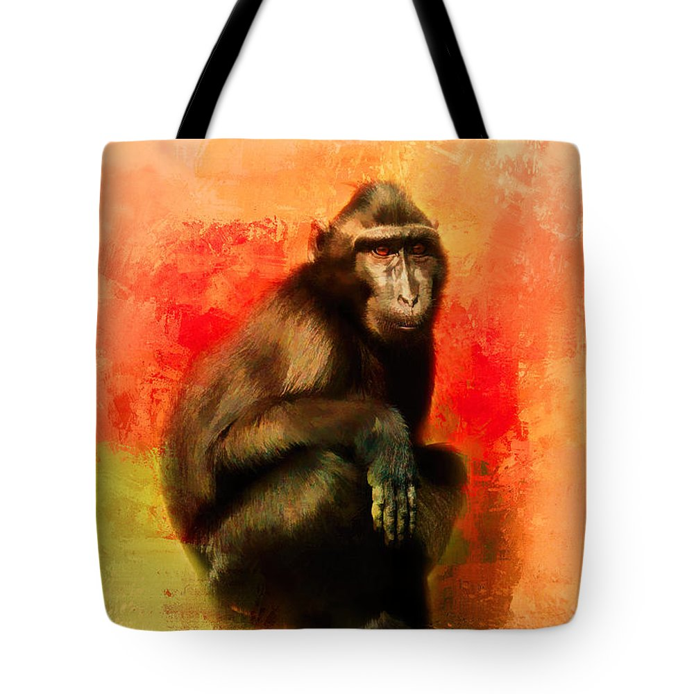 Jai Johnson Tote Bag featuring the photograph Colorful Expressions Black Monkey by Jai Johnson