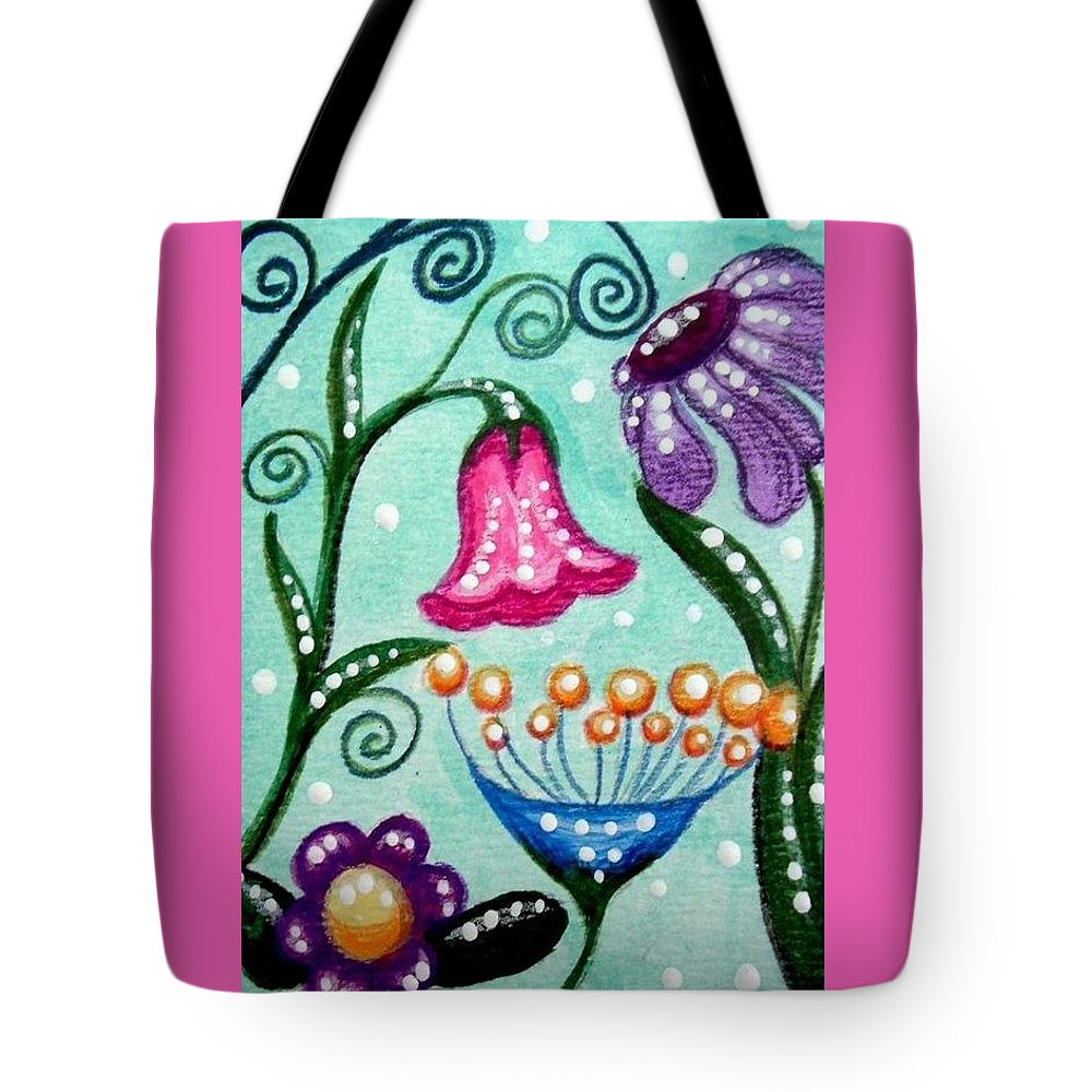 Floral Tote Bag featuring the painting Colorful Flowers by Monica Resinger