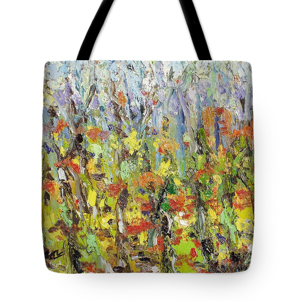 Autumn Abstract Paintings Tote Bag featuring the painting Colorful Forest by Seon-Jeong Kim