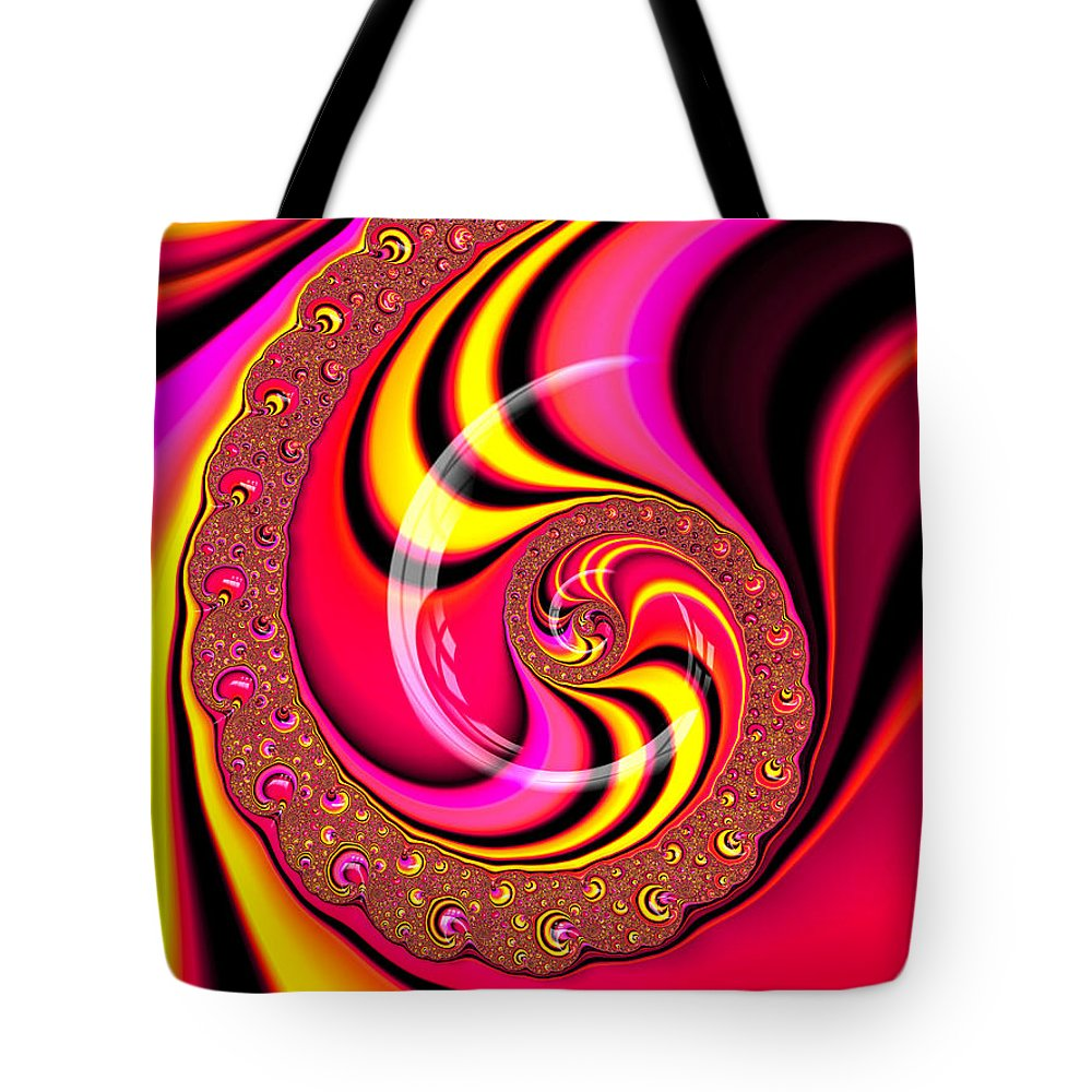 Spiral Tote Bag featuring the digital art Colorful Fractal Spiral Red Yellow Pink by Matthias Hauser