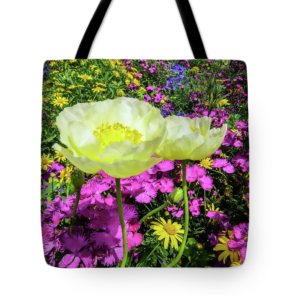 Poppy Tote Bag featuring the photograph Colorful Garden II by Zina Stromberg