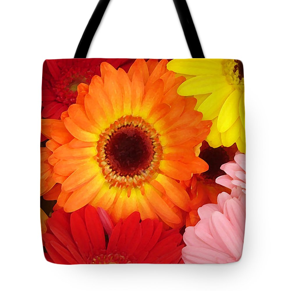 Gerber Daisy Tote Bag featuring the painting Colorful Gerber Daisies by Amy Vangsgard