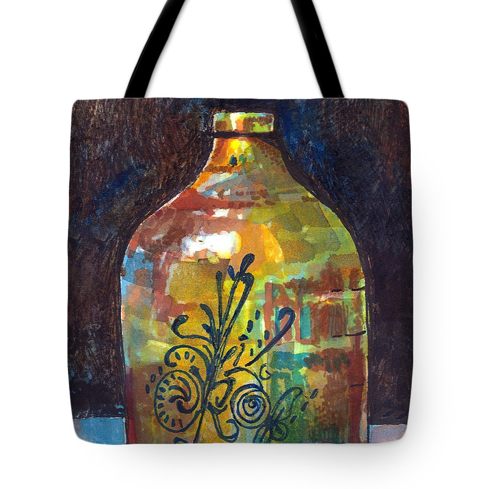 Jug Tote Bag featuring the painting Colorful Jug by Arline Wagner