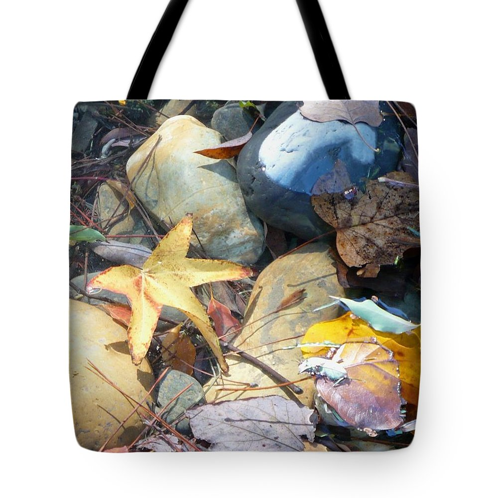 Leaves Tote Bag featuring the photograph Colorful Leaves And Rocks In Creek by Carol Groenen