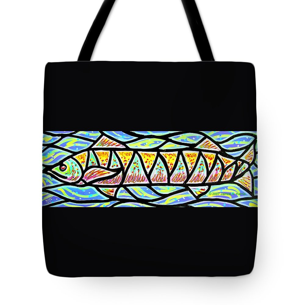 Fish Tote Bag featuring the painting Colorful Longfish by Jim Harris
