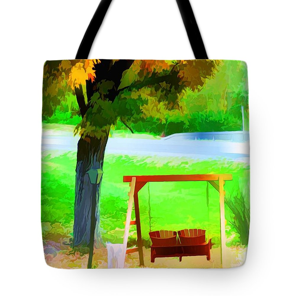 Colorful Maple Tree In The Autumn Tote Bag featuring the painting Colorful Maple Tree In The Autumn by Jeelan Clark