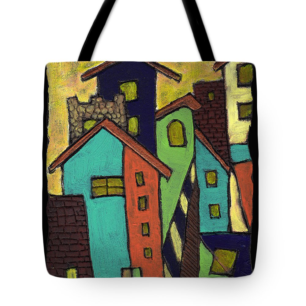 City Tote Bag featuring the painting Colorful Neighborhood by Wayne Potrafka