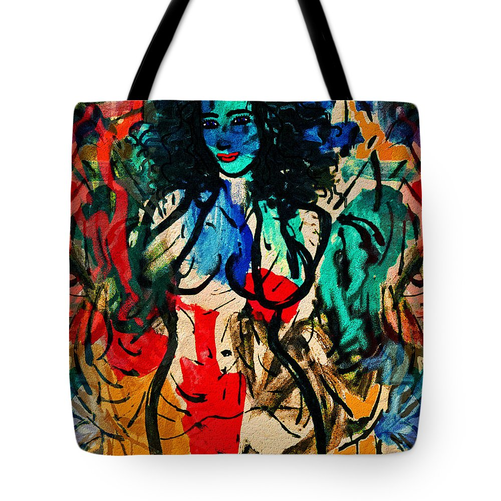Nude Tote Bag featuring the painting Colorful Nude by Natalie Holland