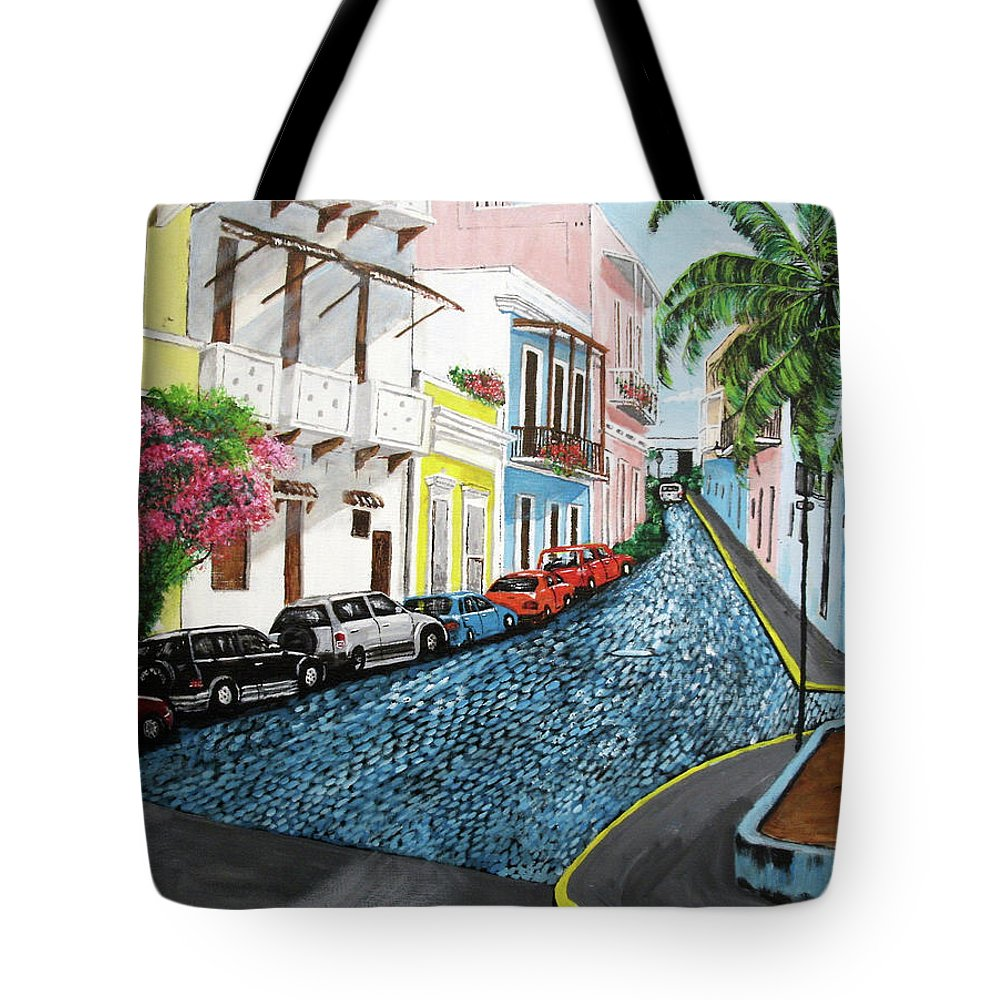Old San Juan Tote Bag featuring the painting Colorful Old San Juan by Luis F Rodriguez