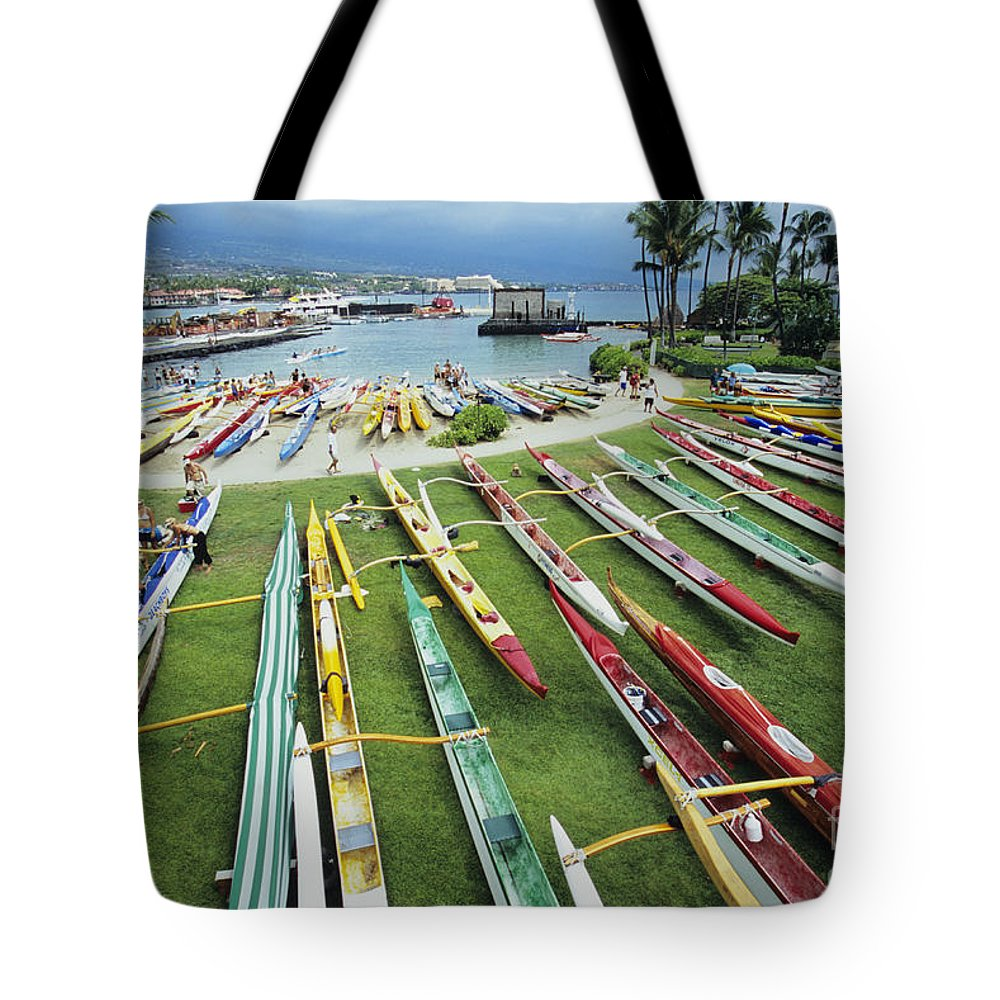 Aku Tote Bag featuring the photograph Colorful Outrigger Canoes by Joss - Printscapes