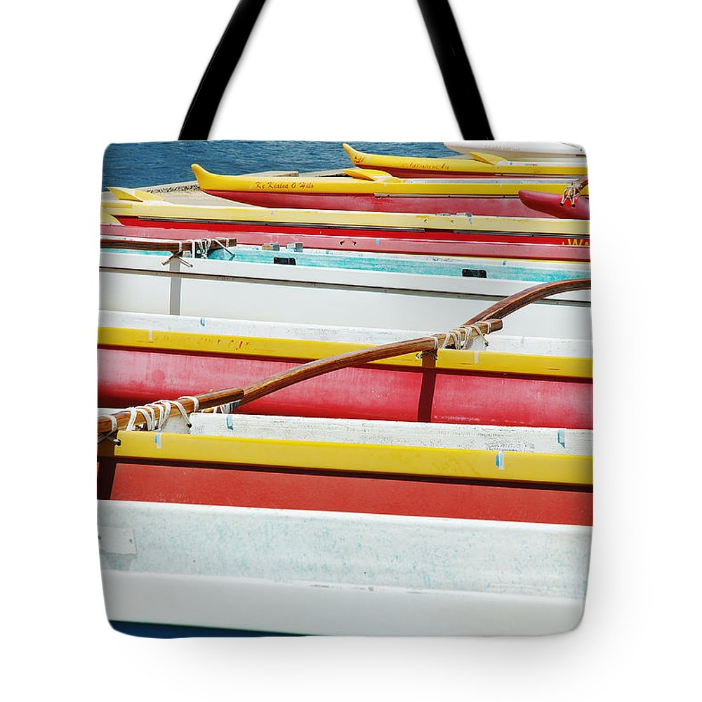 Afternoon Tote Bag featuring the photograph Colorful Outrigger Canoes by Mary Van de Ven - Printscapes