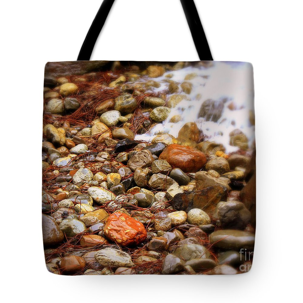Nature Tote Bag featuring the photograph Colorful Rocks With Waterfall by Carol Groenen