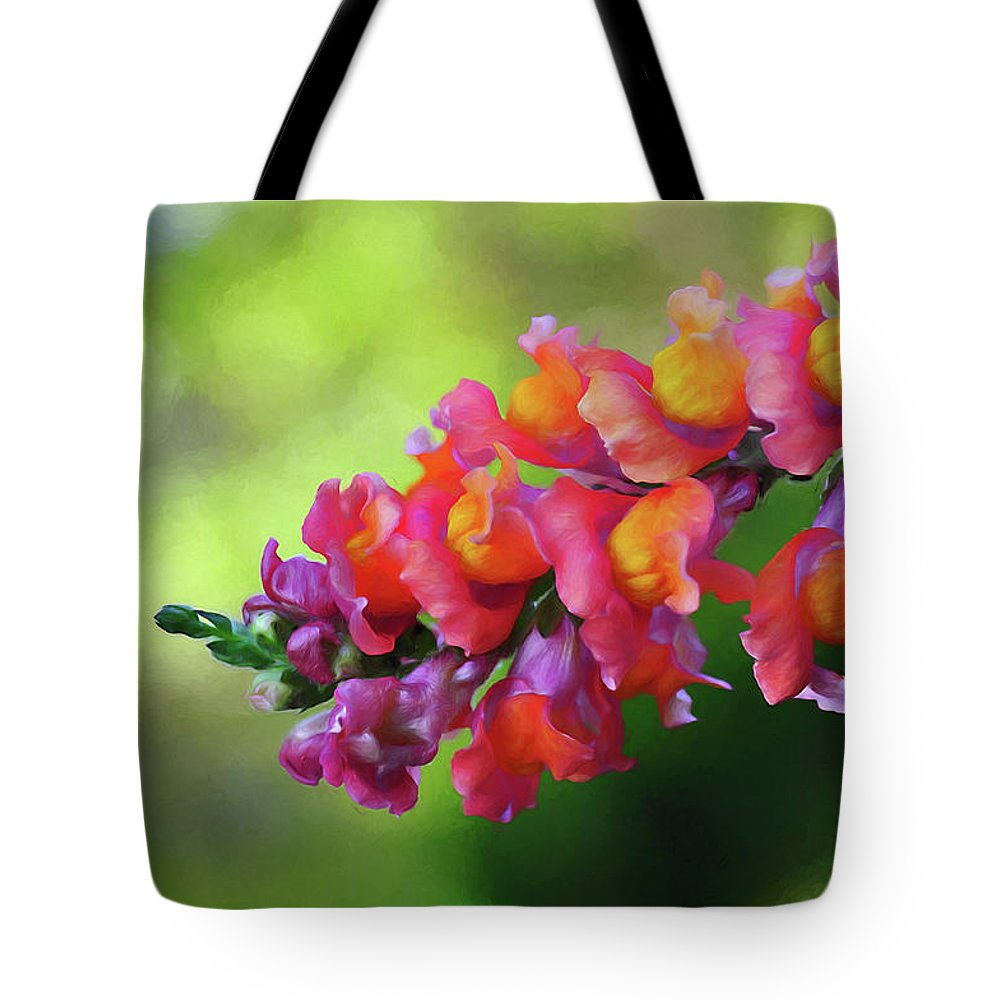 Colorful Snapdragon Tote Bag featuring the photograph Colorful Snapdragon by Kaye Menner