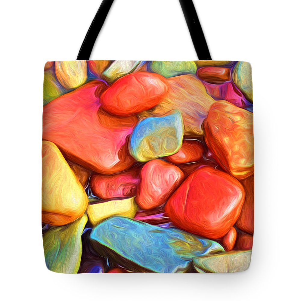 Abstract Tote Bag featuring the painting Colorful Stones by Veikko Suikkanen