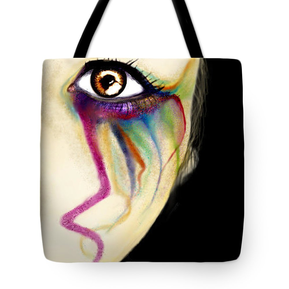 Abstract Tote Bag featuring the digital art Colorful Tears by Ellen Dawson