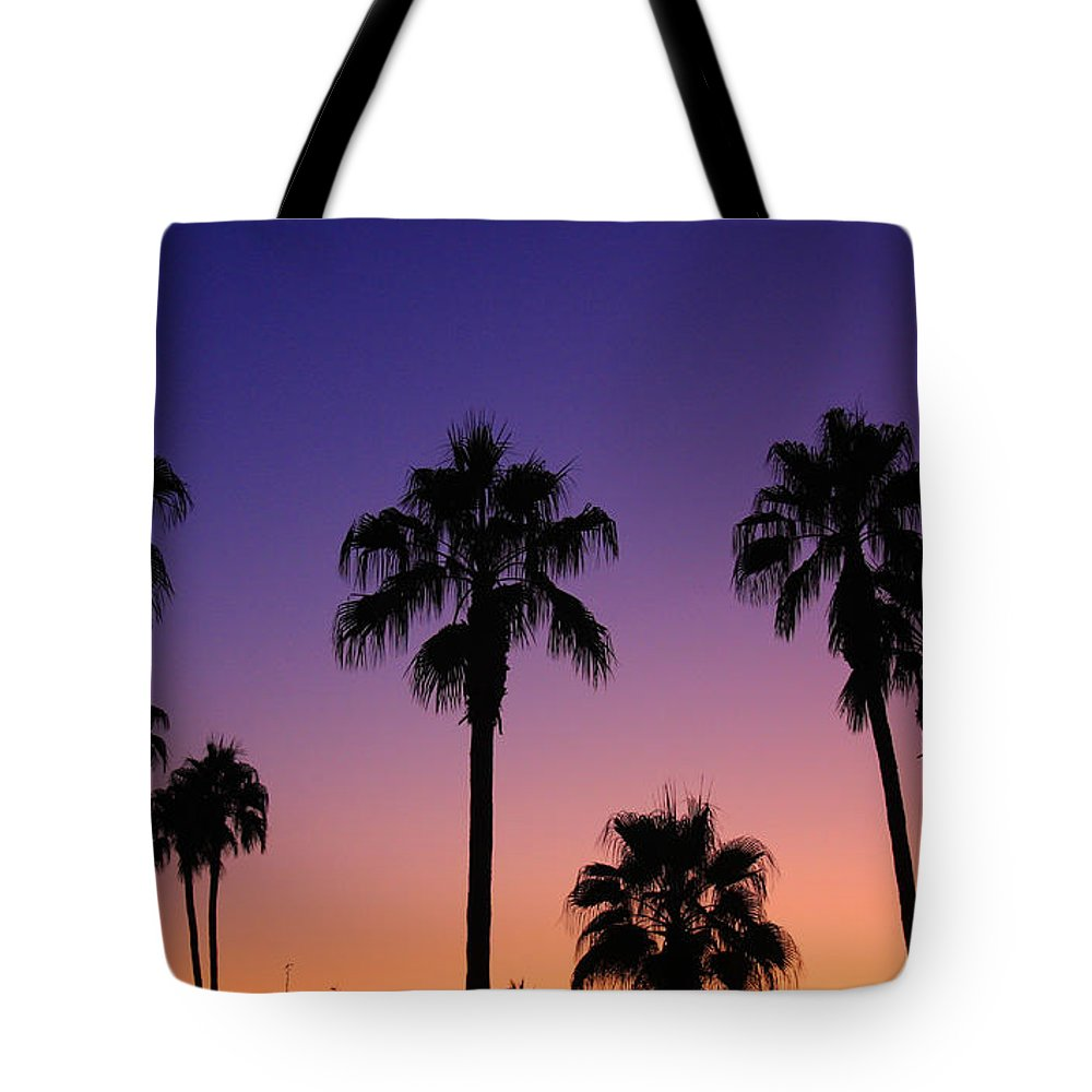 Sunsets Tote Bag featuring the photograph Colorful Tropical Palm Tree Sunset by James BO Insogna