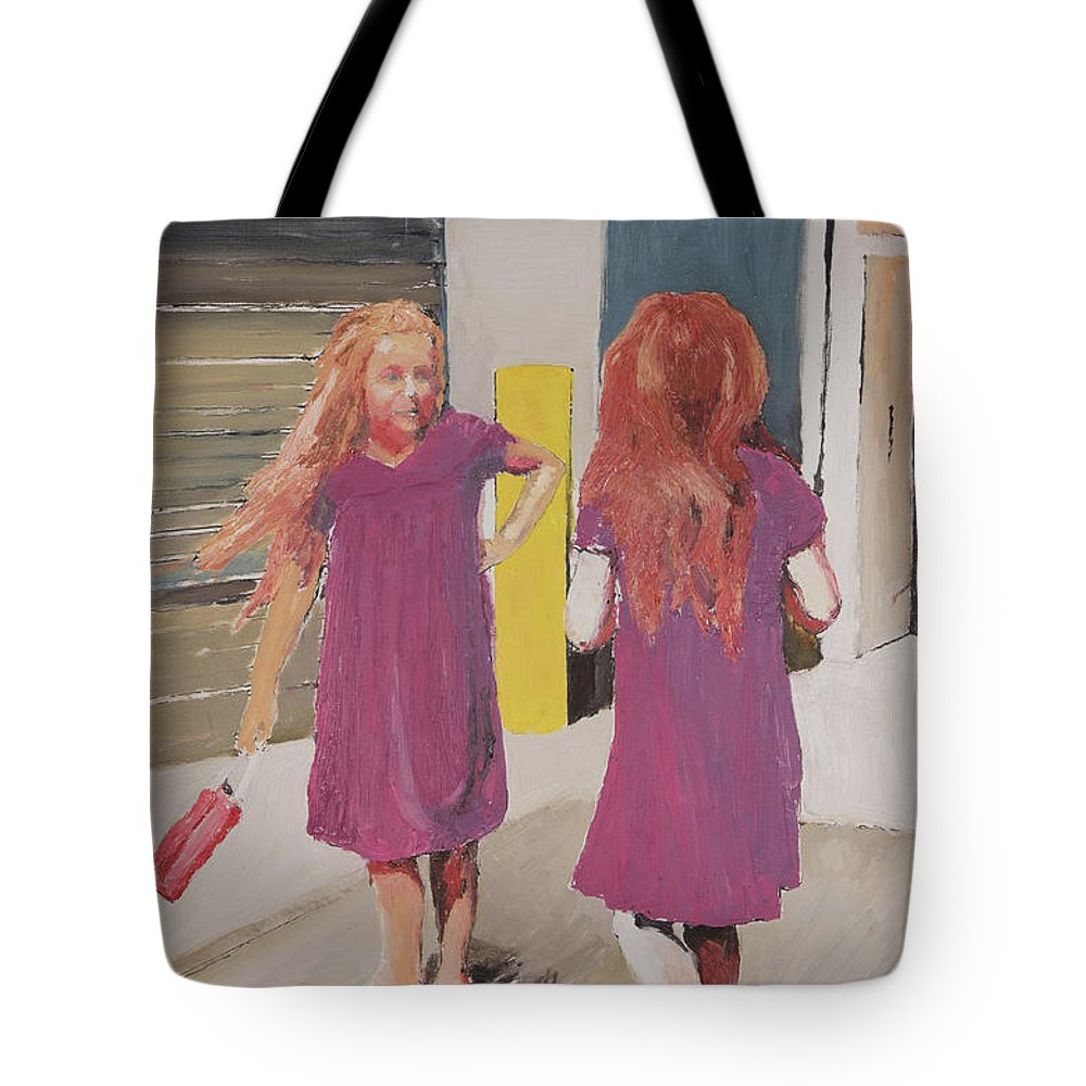 Twins Tote Bag featuring the painting Colorful Twins by Craig Newland