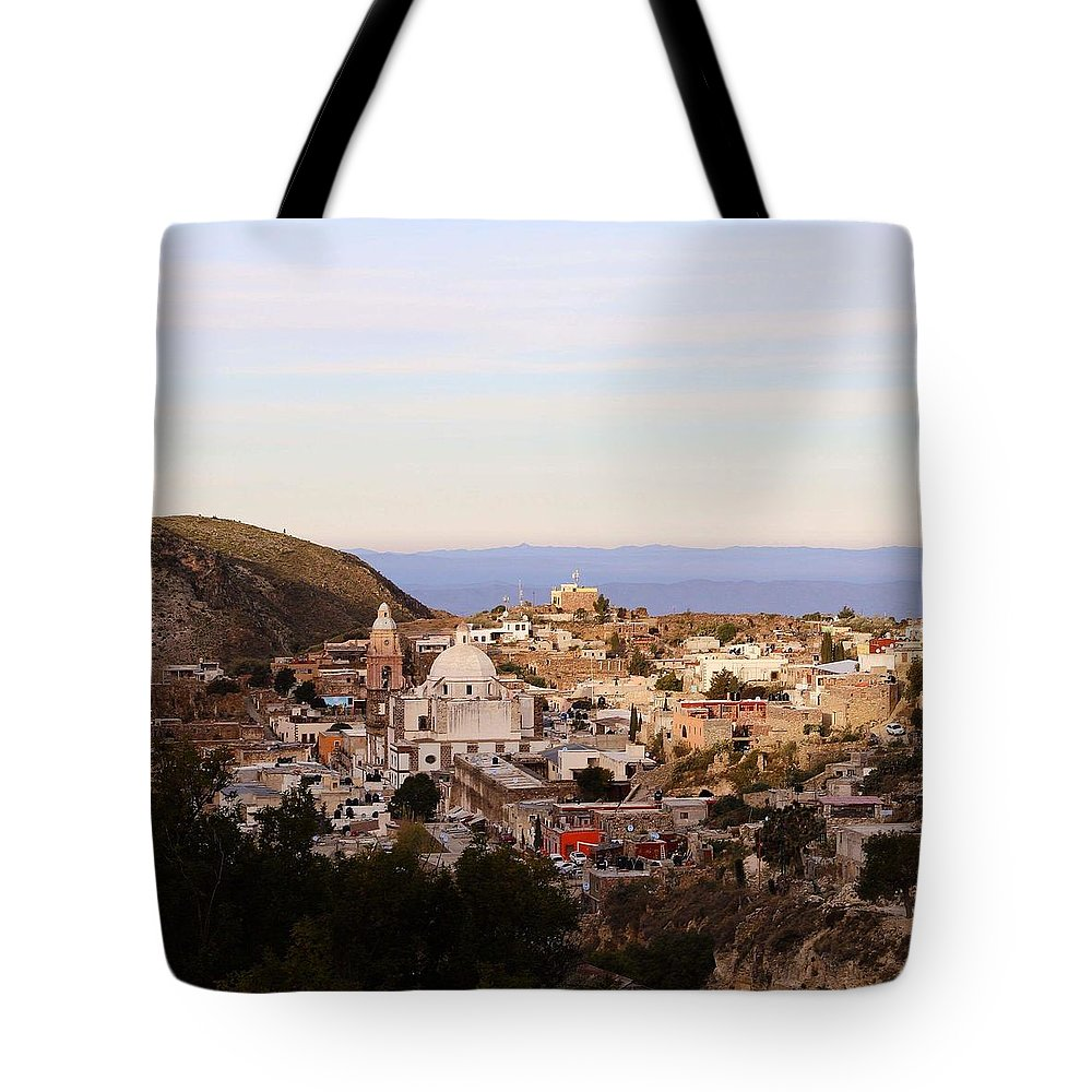 Town Tote Bag featuring the photograph Colorfusk Dusk Sky Over A Typical Mexican Town by Seb Estrada