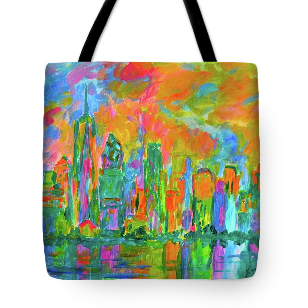 New York Prints For Sale Tote Bag featuring the painting Coloring The Big Apple Stage One by Kendall Kessler