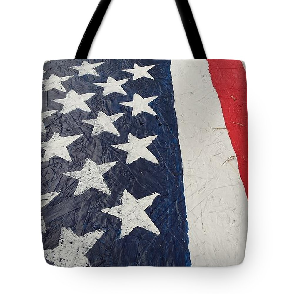American Flag Red White Blue Patriotic Ole Glory Colors Tote Bag featuring the photograph Colors Dont Run by Lee Barrett