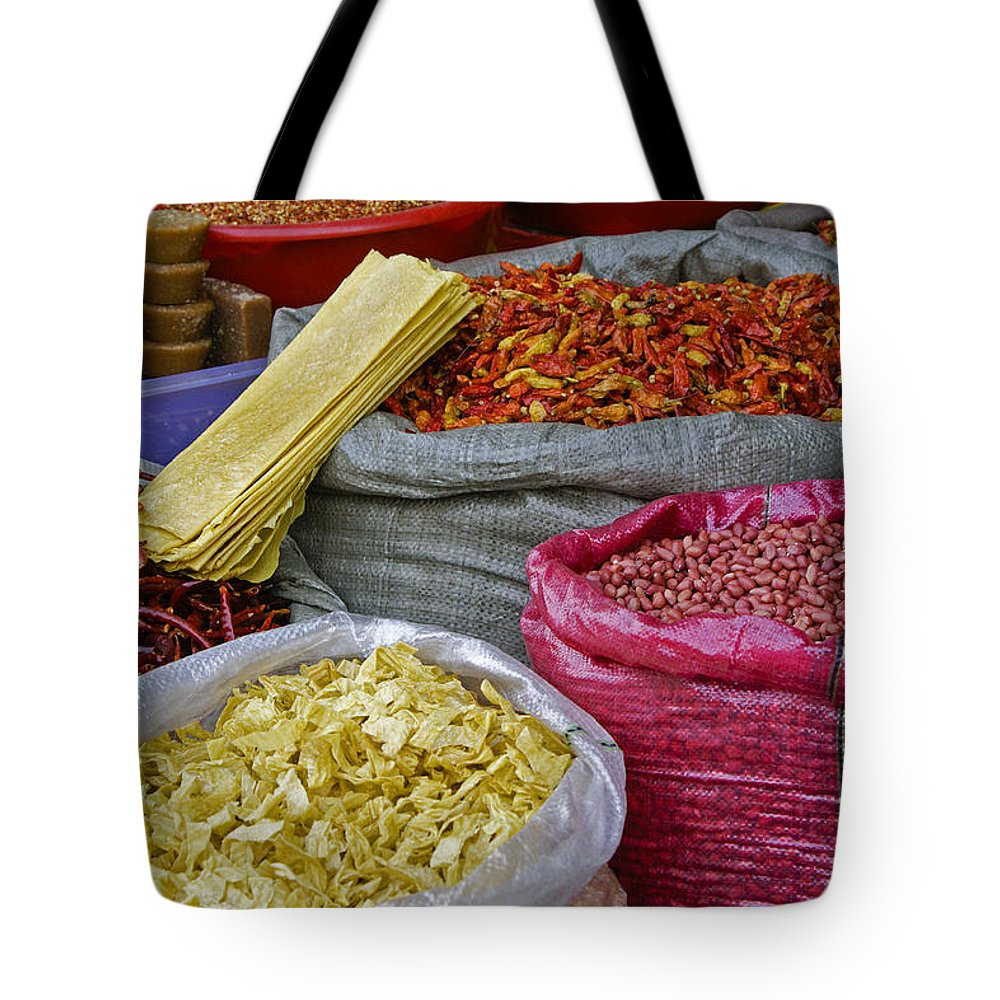 Asia Tote Bag featuring the photograph Colors In A Chinese Market by Michele Burgess
