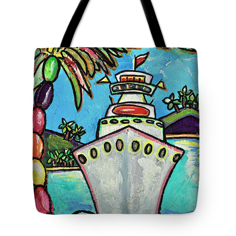 Cruise Ship Tote Bag featuring the painting Colors Of Cruising by Patti Schermerhorn