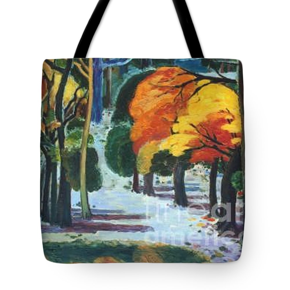 Colors Tote Bag featuring the painting Colors Of Fall by Meihua Lu