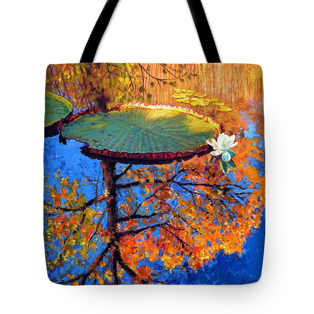 Fall Tote Bag featuring the painting Colors of Fall on the Lily Pond by John Lautermilch