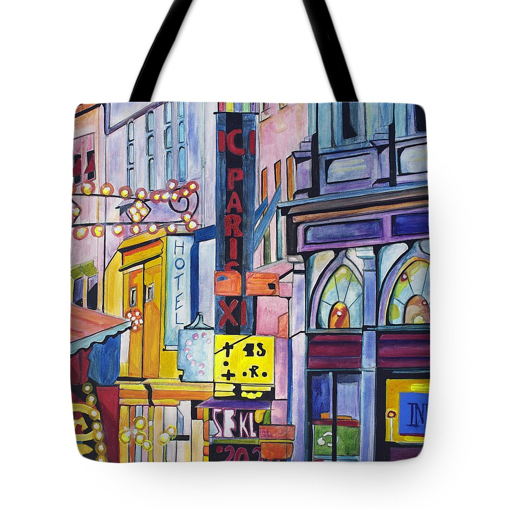 Cityscape Tote Bag featuring the painting Colors Of Paris by Patricia Arroyo
